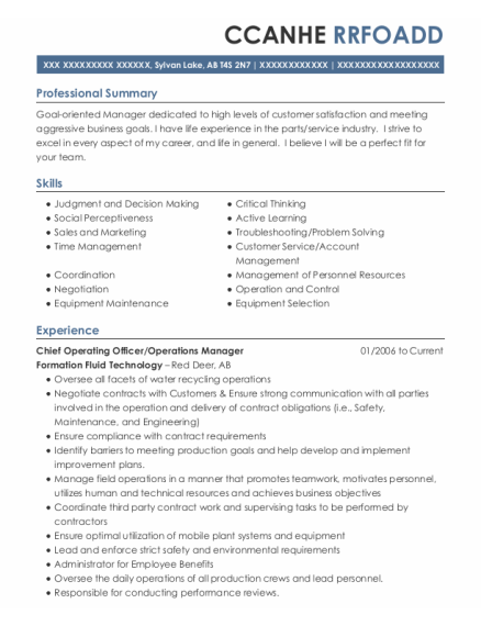 Chief Operating Officer resume template AB