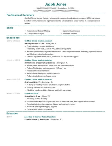 Certified Clinical Medical Assistant resume example Alabama