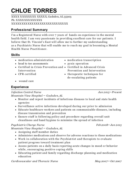 Mountain View Hospital Infection Control Nurse Resume Sample