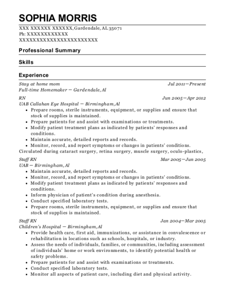 Stay at home mom resume example Alabama