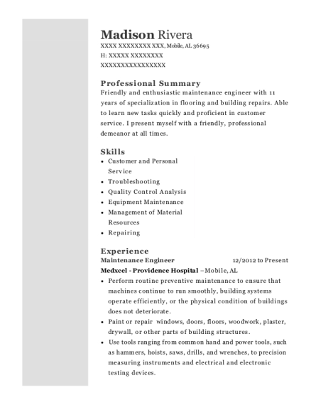 Maintenance Engineer resume format Alabama
