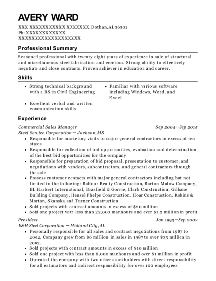 Commercial Sales Manager resume template Alabama