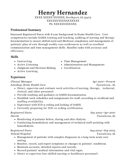 Clinical Manager resume sample Alabama