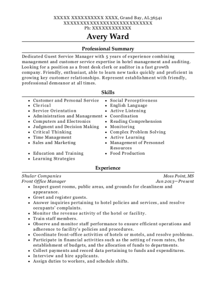 Front Office Manager resume example Alabama