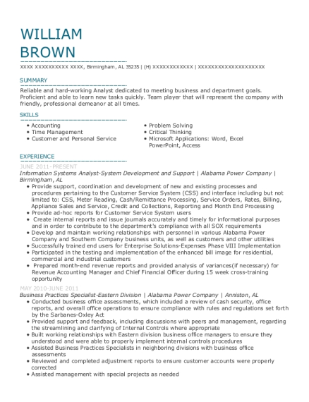 Information Systems Analyst System Development and Support resume example Alabama