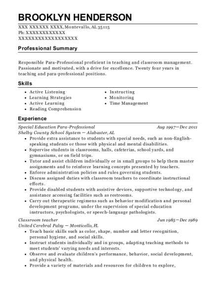 Special Education Para Professional resume template Alabama