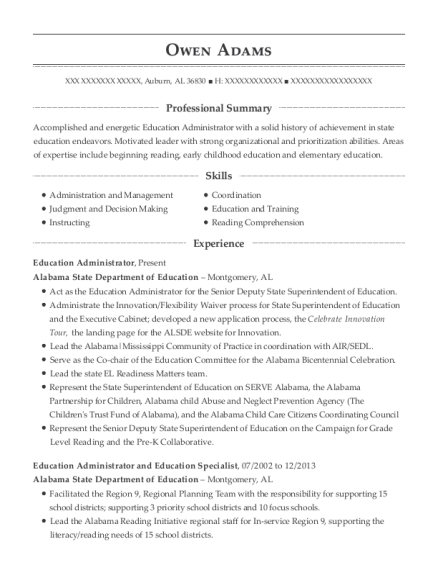 Education Administrator resume format Alabama