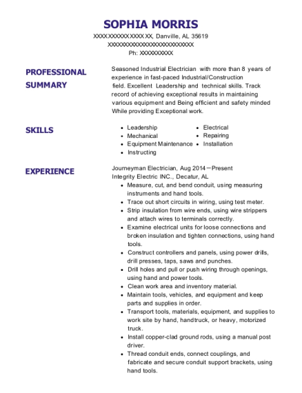 Journeyman Electrician resume sample Alabama