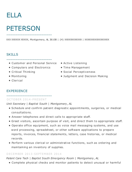 Unit Secretary resume example Alabama