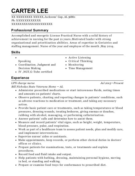 LPN charge nurse resume example Alabama