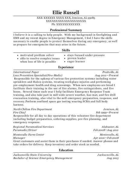 Loss Prevention Specialist resume example Alabama