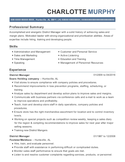 District Manager resume template Alabama