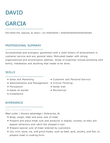 Meat Cutter resume example Alabama