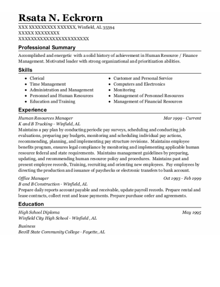 Human Resources Manager resume sample Alabama