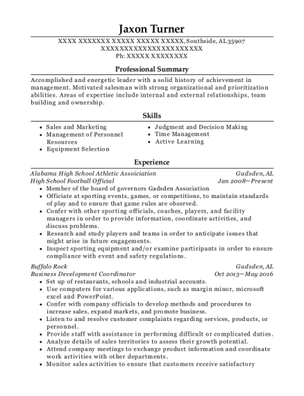 High School Football Official resume template Alabama