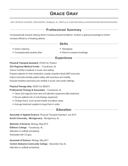 Physical Therapist Assistant resume example Alabama