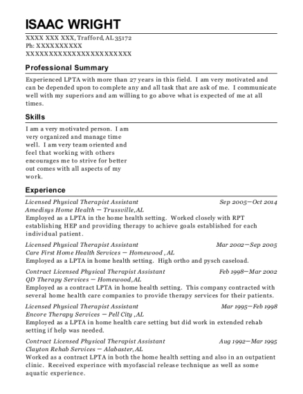 Licensed Physical Therapist Assistant resume template Alabama