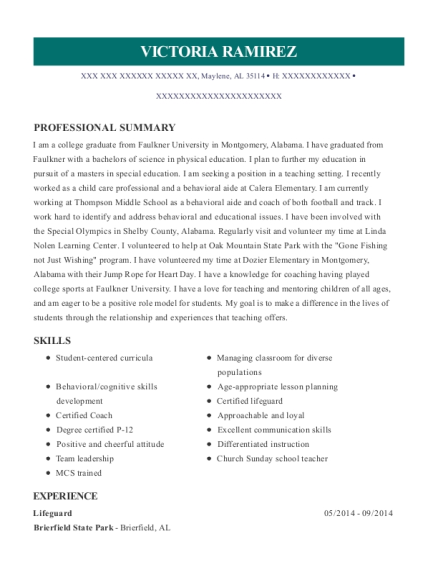 Lifeguard resume template Alabama
