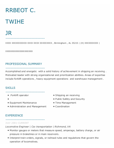 Locomotive Engineer resume sample Alabama