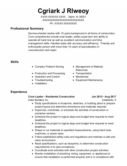 Journeyman Plumber resume sample Alabama