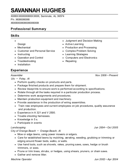 Assembler resume example Alabama