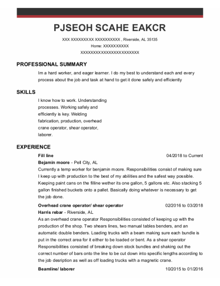 Overhead Crane Operator resume sample Alabama