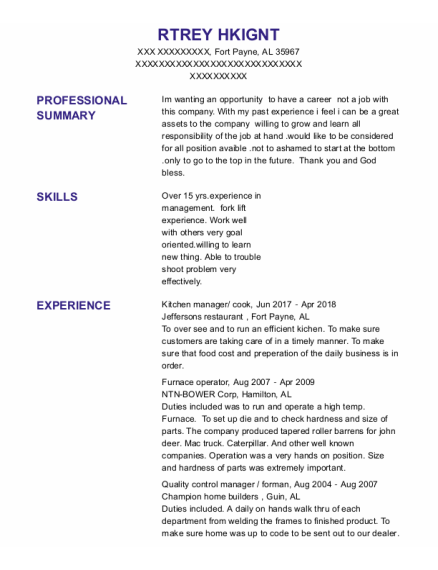 Kitchen Manager resume template Alabama