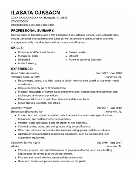 Assembly Worker resume format Alabama