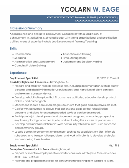 Employment Specialist resume format Alabama