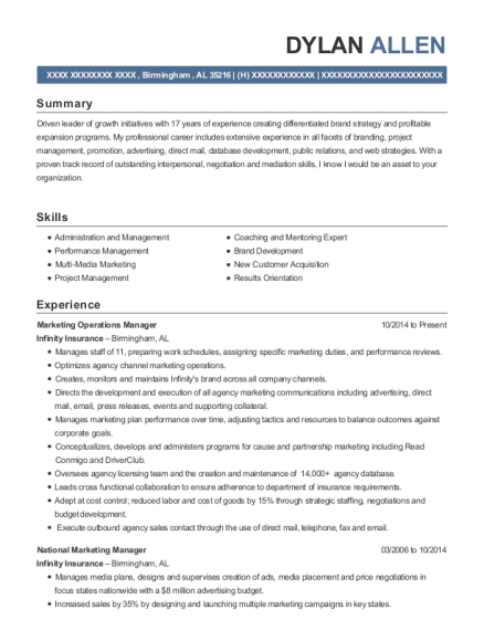 Marketing Operations Manager resume format Alabama