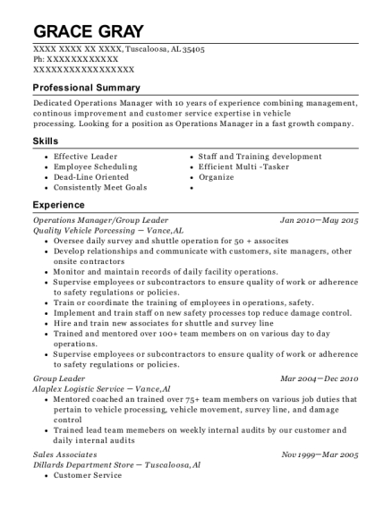 Operations Manager resume sample Alabama