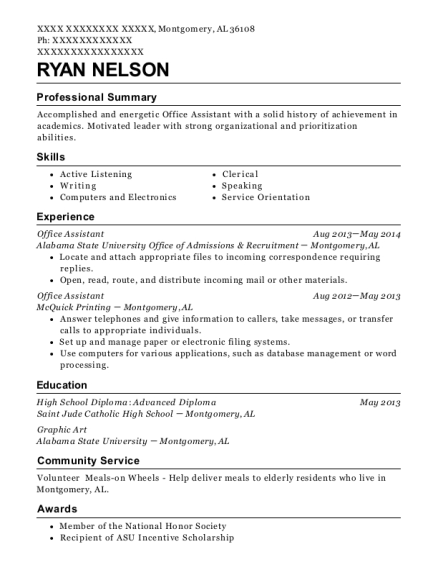 Office Assistant resume sample Alabama