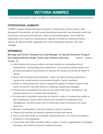 Marriage and Family Therapist and Case Manager for Special Deliveries Program resume sample Alabama