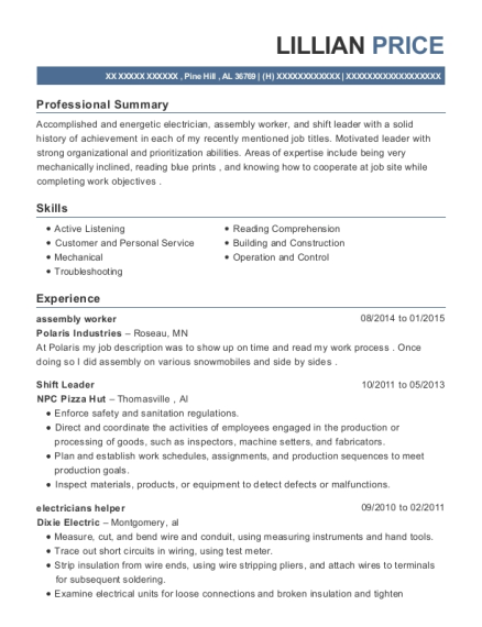 assembly worker resume example Alabama