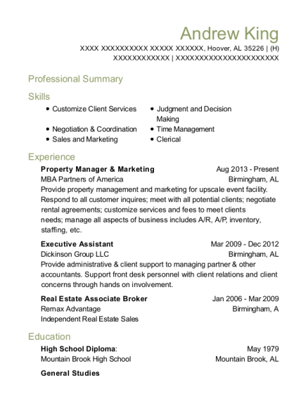 Property Manager & Marketing resume format Alabama