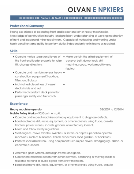 Heavy Machine Operator resume format Alabama