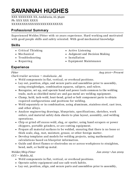 Fitter resume template Alabama