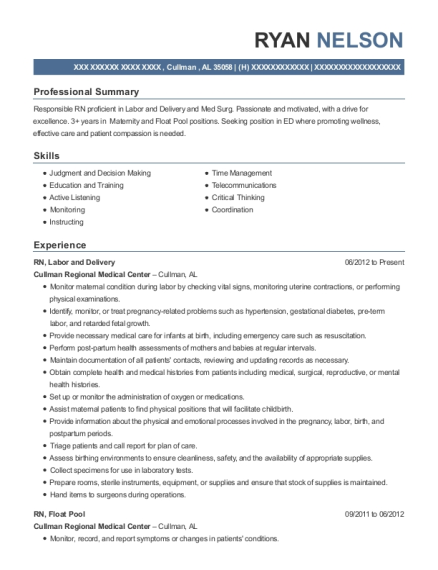 RN resume format Alabama