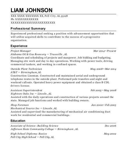 Project Manager resume example Alabama
