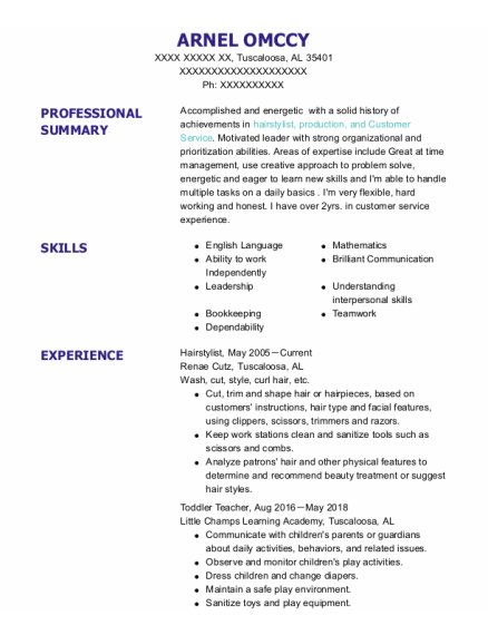 hairstylist resume template Alabama