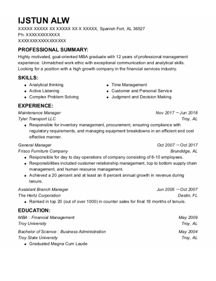 Maintenance Manager resume sample Alabama