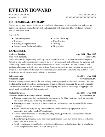Assistant Teacher resume template Alabama