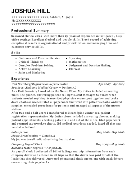 Unit Secretary resume template Alabama