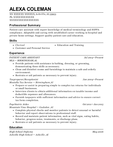PATIENT CARE ASSISTANT resume example Alabama