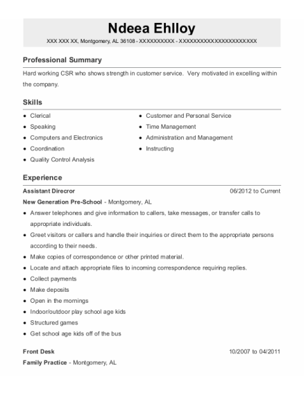 Front Desk resume format Alabama