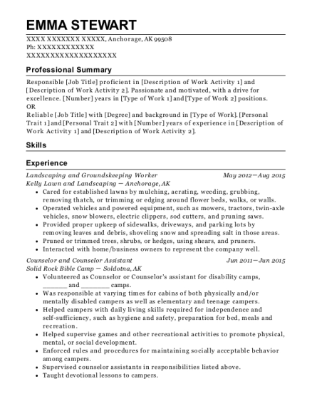 Landscaping and Groundskeeping Worker resume example Alaska