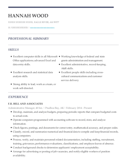 Administrative Manager resume example Alaska