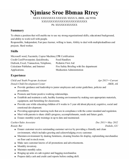 Child and Youth Program Assistant resume format Alaska