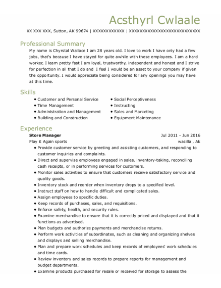 Store Manager resume template Alaska