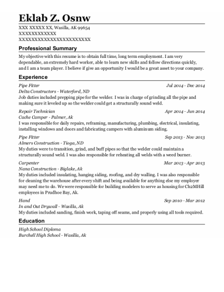 Best Pipe Fitter Resumes